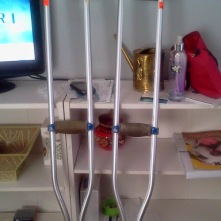 Crutches before and after hip replacement surgery in 2014.